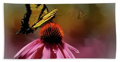 Butterflies And Cone Sflowers Hand Towel