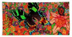 Butterflies And Flowers Bath Towel