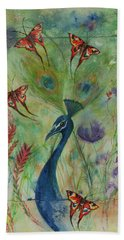 Butterflies And Peacock Hand Towel