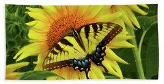 Butterflies And Sunflowers Bath Towel