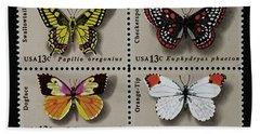Butterflies Postage Stamp Print Bath Towel