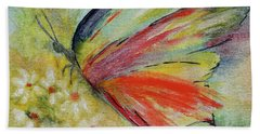 Bath Towel featuring the painting Butterfly 3 by Karen Fleschler