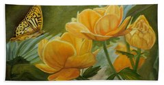 Butterfly Among Yellow Flowers Hand Towel