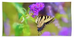 Hand Towel featuring the photograph Butterfly Art - Eastern Tiger Swallowtail by Kerri Farley