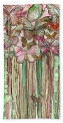 Hand Towel featuring the mixed media Butterfly Bloomies 1 - Pink by Carol Cavalaris
