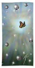 Bath Towel featuring the digital art Butterfly Bubbles by Darren Cannell
