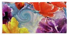 Butterfly Floral With A Spiral Painting By Lisa Kaiser Bath Towel