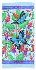Butterfly Idyll-fuchsias Bath Towel
