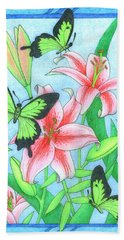 Butterfly Idyll- Lilies Hand Towel
