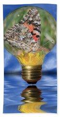 Butterfly In Lightbulb Hand Towel