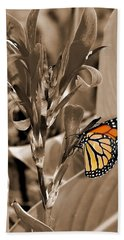 Butterfly In Sepia Bath Towel