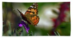 Hand Towel featuring the photograph Butterfly In Winter by Debby Pueschel