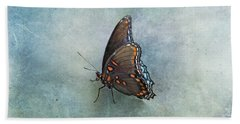 Hand Towel featuring the photograph Butterfly On Blue by Sandy Keeton