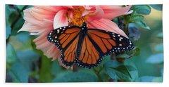 Butterfly On Dahlia Bath Towel