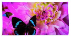 Butterfly On Pink Dahlia Hand Towel