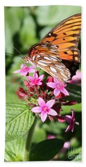Butterfly On Pink Pentas Hand Towel