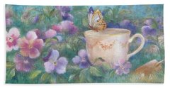 Hand Towel featuring the painting Butterfly On Teacup by Judith Cheng