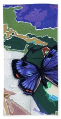 Butterfly Over Great Lakes Hand Towel