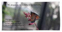 Butterfly Quote Art Print Hand Towel by Ella Kaye Dickey