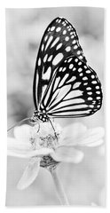 Hand Towel featuring the photograph Butterfly Wings 7 - Black And White by Marianna Mills