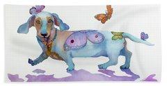 Butterfly Doxie Doo Bath Towel by Marcia Baldwin
