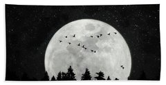 By The Light Of The Silvery Moon - Birds  Hand Towel