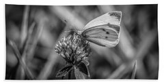 Cabbage White In Gray Hand Towel by Ray Congrove