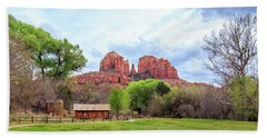 Hand Towel featuring the photograph Cabin At Cathedral Rock Panorama by James Eddy