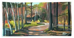 Cabin By The Lake En Plein Air Hand Towel