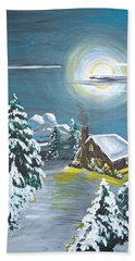 Bath Towel featuring the painting Cabin In The Woods by Donna Blossom