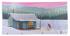 Cabin On A Frozen Lake Hand Towel