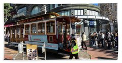 Bath Towel featuring the photograph Cable Car Union Square Stop by Steven Spak