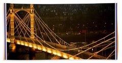 Cable-stayed Gold Sparkle Bridge At Night In London Bath Towel