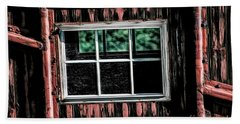 Hand Towel featuring the photograph Caboose Window by Brad Allen Fine Art