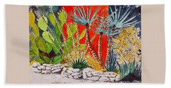 Cactus Garden  Hand Towel by Fred Jinkins