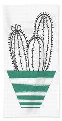 Cactus In A Green Pot- Art By Linda Woods Bath Towel