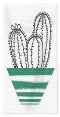 Hand Towel featuring the mixed media Cactus In A Green Pot- Art By Linda Woods by Linda Woods