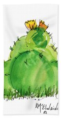 Cactus In The Yellow Flower Watercolor Painting By Kmcelwaine Bath Towel by Kathleen McElwaine