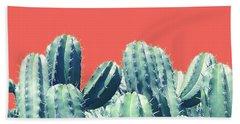 Cactus On Coral Bath Towel by Uma Gokhale
