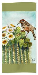 Hand Towel featuring the painting Cactus Wren And Saguaro by Marilyn Smith