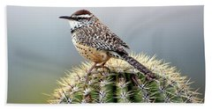 Cactus Wren On Saguaro Hand Towel