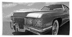 Cadillac Coupe De Ville 1971 In Black And White Hand Towel