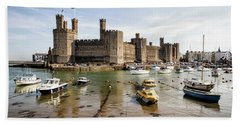Caernarfon Castle, North Wales Hand Towel by Shirley Mitchell