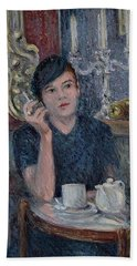 Cafe De Paris  Hand Towel by Pierre Van Dijk