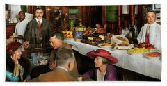 Hand Towel featuring the photograph Cafe - Temptations 1915 by Mike Savad
