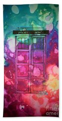 Bath Towel featuring the drawing Caia's Tardis by Justin Moore