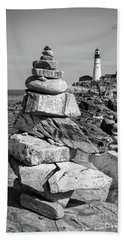Bath Towel featuring the photograph Cairn And Lighthouse  -56052-bw by John Bald