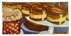 Bath Towel featuring the painting Cake Case by Tilly Strauss