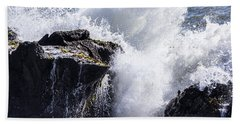 California Coast Wave Crash 6 Bath Towel