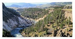 Calcite Springs Along The Bank Of The Yellowstone River Hand Towel